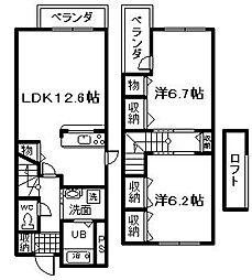 南海線 箱作駅 徒歩12分の賃貸タウンハウス 1階2LDKの間取り