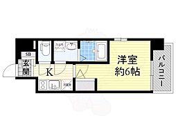 Osaka Metro中央線 弁天町駅 徒歩9分の賃貸マンション 13階1Kの間取り