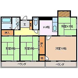 三重県四日市市西浦1丁目の賃貸マンションの間取り