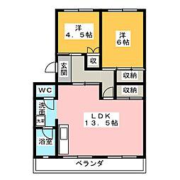 名鉄旭前ハイツA棟[4階]の間取り