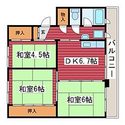 雇用促進住宅 東月寒 3号棟[3階]の間取り