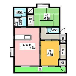 コーポフォーリーフA B[1階]の間取り