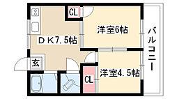 愛知県名古屋市天白区道明町の賃貸アパートの間取り