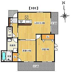 (仮称)八尾市シャーメゾン刑部1丁目計画[101号室]の間取り