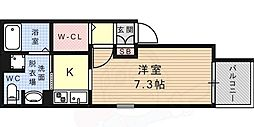 JR東海道・山陽本線 摂津本山駅 徒歩9分の賃貸アパート 1階ワンルームの間取り