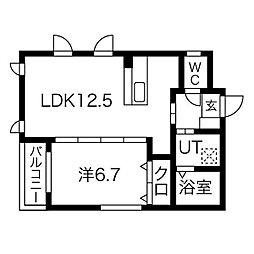 プリムール高蔵 1階1LDKの間取り