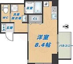 みおつくし高井田 1階ワンルームの間取り