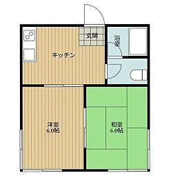 石飛アパート[2号室]の間取り
