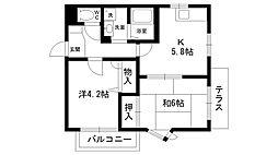 サンシャイン夙川[102号室]の間取り
