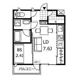新築 デザイナーズアパート クレイラ元町 所沢14分 1階1DKの間取り
