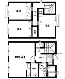 [テラスハウス] 神奈川県川崎市高津区野川 の賃貸【/】の間取り