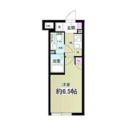 東急目黒線 西小山駅 徒歩8分の賃貸マンション 3階1Kの間取り