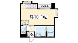 JR東海道・山陽本線 灘駅 徒歩8分の賃貸マンション 4階ワンルームの間取り