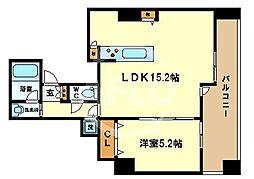 ベルファース大阪新町 15階1LDKの間取り