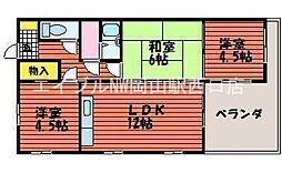 岡山県岡山市北区平野丁目なしの賃貸マンションの間取り