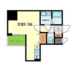 Osaka Metro堺筋線 北浜駅 徒歩3分の賃貸マンション 9階ワンルームの間取り