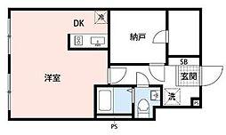都営新宿線 曙橋駅 徒歩5分の賃貸マンション 3階1DKの間取り