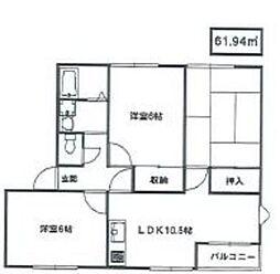 ラ・カンナB[2階]の間取り