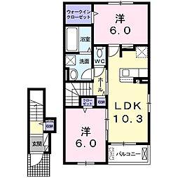 JR宇野線 早島駅 徒歩15分の賃貸アパート 2階2LDKの間取り