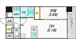 エステムコート梅田・天神橋IVステーションフロント 2階1DKの間取り