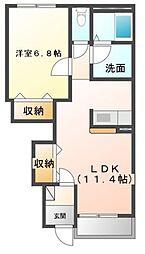 西武新宿線 狭山市駅 バス12分 根岸中央下車 徒歩3分の賃貸アパート 1階1LDKの間取り