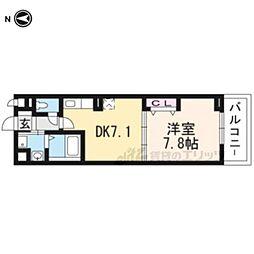 JR奈良線 新田駅 徒歩6分の賃貸アパート 2階1DKの間取り