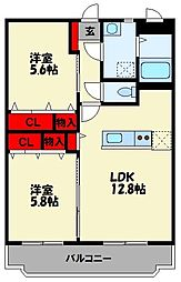 JR筑豊本線 天道駅 徒歩13分の賃貸マンション 1階2LDKの間取り