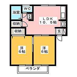岡田ハイツA[2階]の間取り