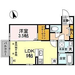 D-room粟島[103号室]の間取り