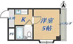 トーエー高井田ビル 3階1Kの間取り