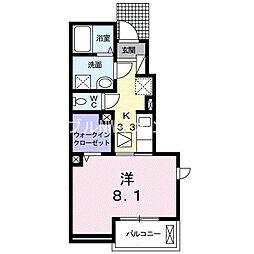 JR伯備線 中庄駅 徒歩14分の賃貸アパート 1階1Kの間取り