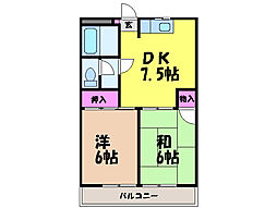 愛媛県松山市古川西3丁目の賃貸マンションの間取り