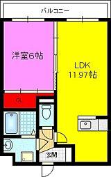 フルールM 3階1LDKの間取り