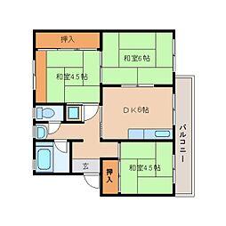 奈良県奈良市中登美ケ丘の賃貸マンションの間取り
