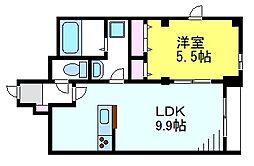 JR中央線 東小金井駅 徒歩12分の賃貸マンション 1階1LDKの間取り