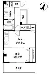 ヒルサイドハウス 1階1DKの間取り