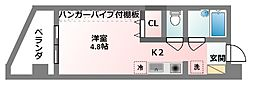 コート・ダジュール 4階1Kの間取り