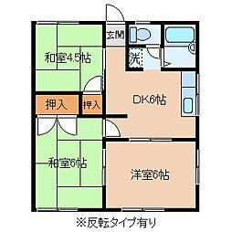 長野県岡谷市東銀座2丁目の賃貸アパートの間取り