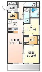 JR山陽本線 高島駅 徒歩13分の賃貸アパート 1階1LDKの間取り