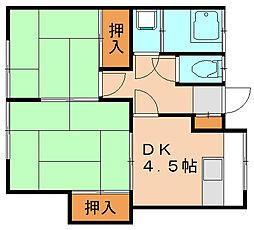 荒津荘B[1階]の間取り