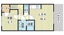 兵庫県姫路市西庄の賃貸アパートの間取り