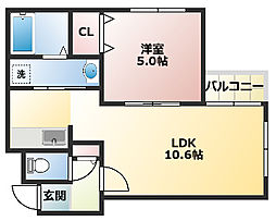 ライフォート麻生 4階1LDKの間取り