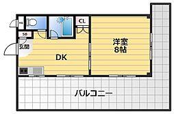 バレイシティ 6階1DKの間取り