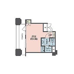 ルネ新宿御苑タワー 8階ワンルームの間取り