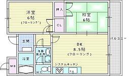 ベーネ江坂 3階2DKの間取り
