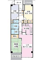 エルシティ新浦安壱番館 6階3LDKの間取り