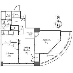 リバーシティ21イーストタワーズII 26階2DKの間取り