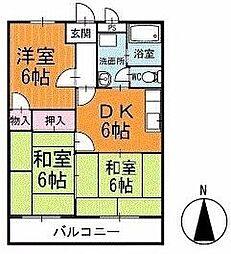サンパール脇田C棟 2階[205号室]の間取り