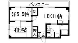 朝山レジデンス[3階]の間取り