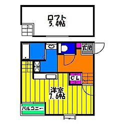 福岡県福岡市南区五十川1丁目の賃貸アパートの間取り